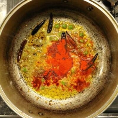 茄子のアチャール、パウダースパイス追加2